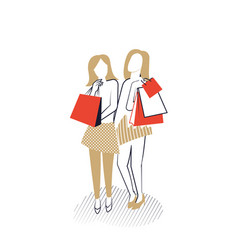 Young girls with shopping bags vector