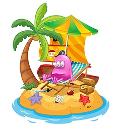 A pink pirate monster in the island vector image vector image