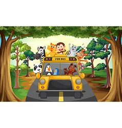 Animals and bus vector image vector image