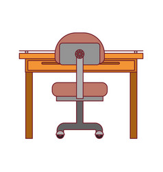 Colorful graphic of closeup work place office vector