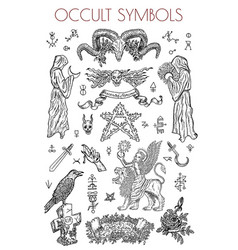 graphic set with occult symbols and vector image