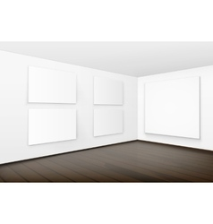 Pictures on Walls with Wooden Floor in Gallery vector image vector image
