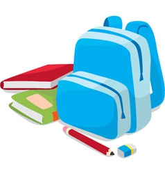 school backpack and book vector image vector image