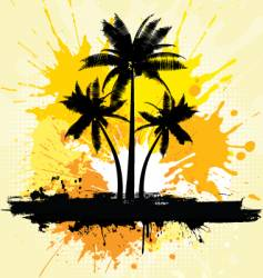 grunge palm trees background vector image vector image