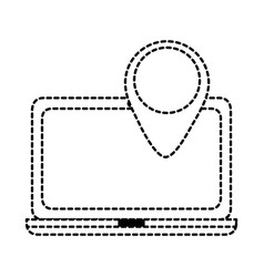 laptop computer with pointer location vector image vector image