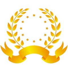 Laurel wreath with ribbon and stars vector image