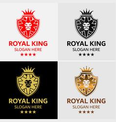 lion king crest logo template vector image vector image