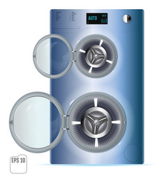 Open double washing machine isolated on a white vector
