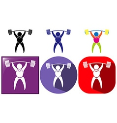Three sport icon designs for weightlifting vector image vector image