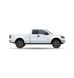 White pick up truck isolated on white vector image vector image