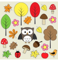 autumnal stickers vector image vector image