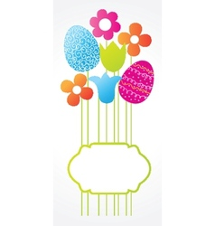 Easter card with bouquet from eggs and flowers vector image vector image