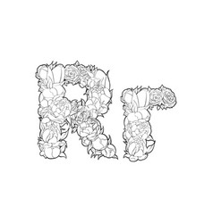 flower alphabet the letter r vector image