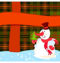 snowman with christmas tree near a big present vector image