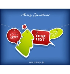 Five hanging text boxes with christmas tree and vector