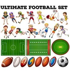 Football theme with players and ball vector image