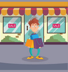 guy standing on street near entrance to store vector image vector image