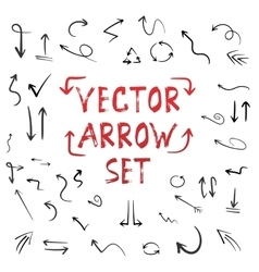 Handdrawn Handmade Arrow Set Isolated on vector image