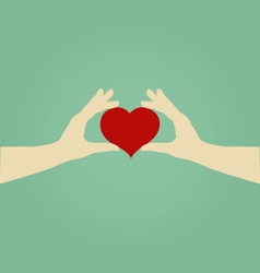 Hands of Woman Holding Red Heart Love Concept vector image vector image