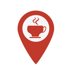map pointer with coffee cup vector image