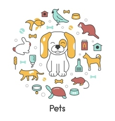 Pets line art thin icons set with dog cat vector