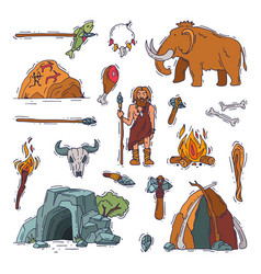 primitive people primeval neanderthal vector image
