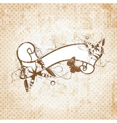 Retro Scroll With Butterflies vector image