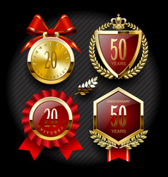 set of anniversary labels and classic gold tags vector image vector image