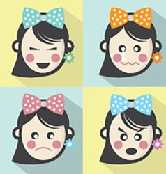 Woman Different Facial Expressions Flat Design vector image vector image