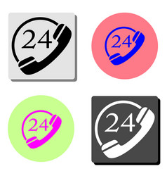 24 hour service flat icon vector image