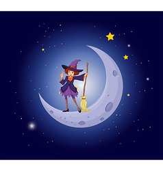 A pretty witch near the moon vector