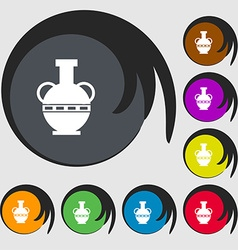 Amphora icon sign Symbols on eight colored buttons vector