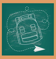 Back to school card with chalkboard and schoolbag vector