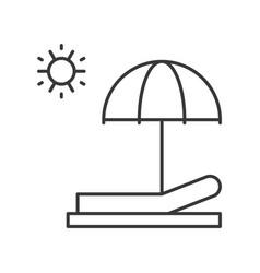 Beach chair umbrella and sun sun bath outline icon vector