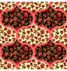 Beautiful seamless pattern with red roses arabic vector image