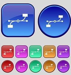 Bezier curve icon sign a set of twelve vintage vector
