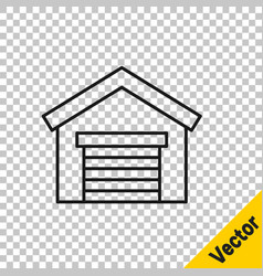 black line garage icon isolated on transparent vector image