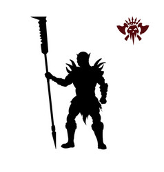 black silhouette of orc vector image