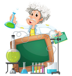 board template with scientist in lab vector image