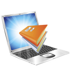 books icon laptop concept vector image