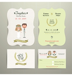 Bride Groom Cartoon Romantic Farm Wedding vector image