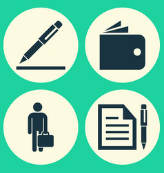 Business icons set collection of pen contract vector