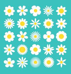 Camomile big set white daisy chamomile icon cute vector