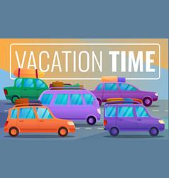 Car vacation time concept banner cartoon style vector