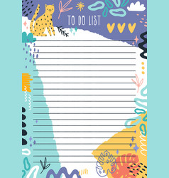 cartoon colorful to do list template with place vector image