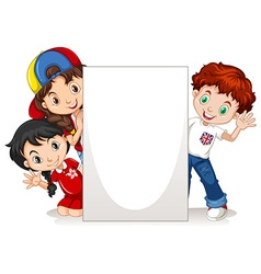 Children behind the blank sign vector