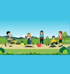 Children help plant trees vector