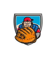 Chimpanzee Baseball Catcher Glove Shield Retro vector