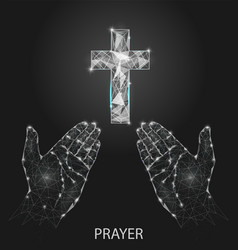 christian prayer hands geometric polygonal vector image
