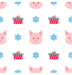 christmas card portrait pink pig with gift box vector image
